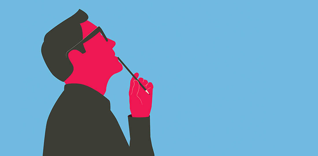 A man holding a pen to his mouth as he contemplates common myths about parking management. Illustration.