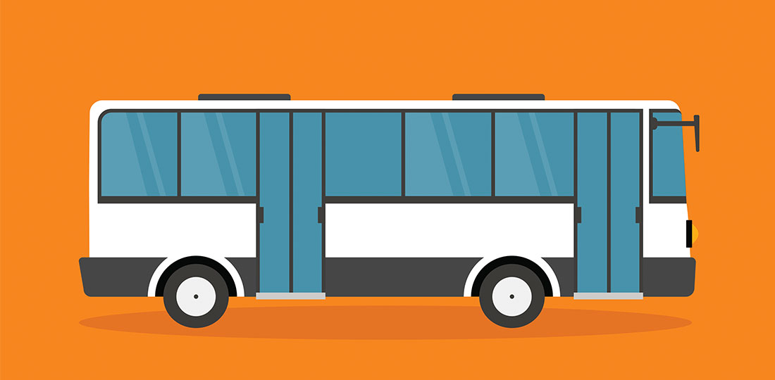 A transit bus that can connect passengers to on-campus care and external transit hubs. Illustration.