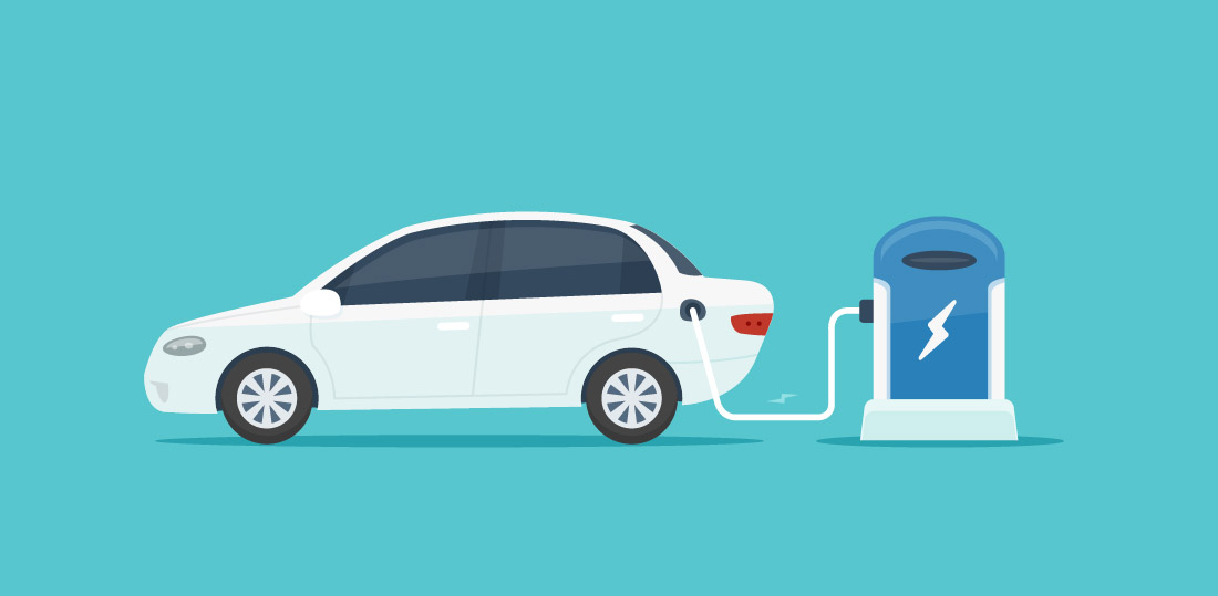 An electric car plugged into an electric vehicle charging station. Illustration.