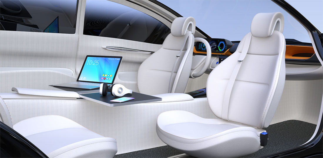 The interior of a self-driving car, equipped with a laptop and rotating seats. 3D illustration.